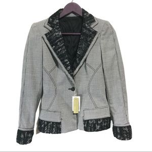 NWT Roberto Cavalli Houndstooth Wool Lace Blazer
